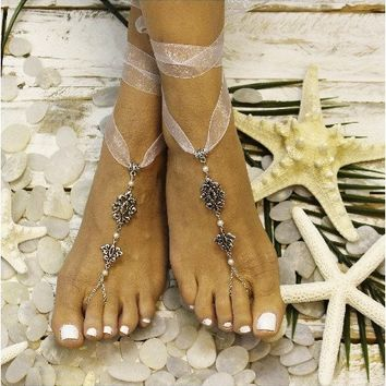 DAINTY ribbon barefoot sandals - silver
