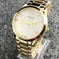 GUCCI Hot Sale Women Men Delicate Watches Wrist Watch Golden