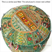 """17"""" Green Round Embroidered Patchwork Pouf Ottoman"""