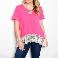 Plus Size Lace Hem Tee in Pink & White