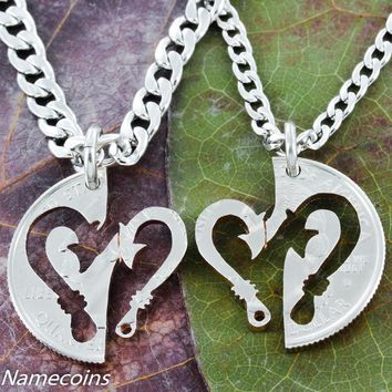 Fish Hooks into heart interlocking necklaces by Namecoins