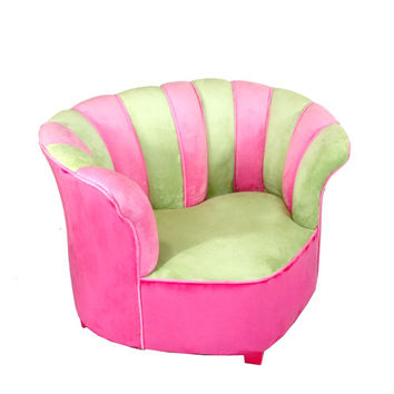 Komfy Kings, Inc 38039 Sweetheart Chair Minky Green/Hot Pink