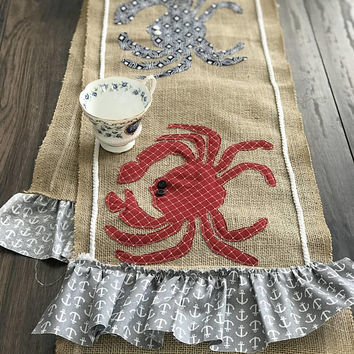 Burlap table runner, farmhouse decor, farmhouse table runner, kitchen decor, nautical decor, crab decor, kitchen table, anchor decor, gift