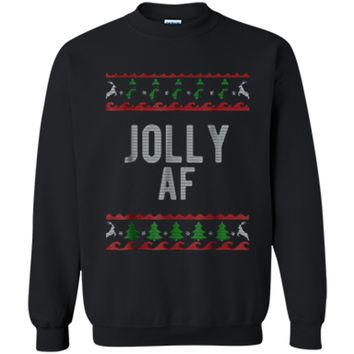 Cool Jolly AF Ugly Christmas Sweater Style Funny  Printed Crewneck Pullover Sweatshirt