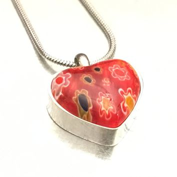 Heart Urn, Cremation Necklace, Millefiori Glass Urn, Glass Urn, Ash Holder Necklace, Cremation Locket, Memory Locket, Cremation Jewelry
