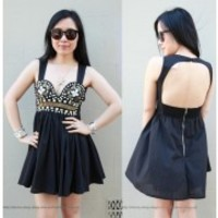 [SALE] BUSTIER BODICE STUDDED EMBELLISHED BACKLESS CUT OUT BACK DRESS 8 6