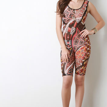 Semi-Sheer Abstract Pattern Sleeveless Romper