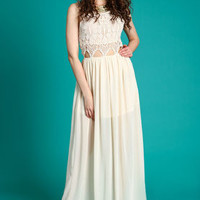 Sand Crochet Cut Out Maxi Dress - LoveCulture