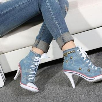 Womens Denim Canvas Rivet High Heel Stilettos Lace Up Sneakers Shoes US 6-8.5 = 192976