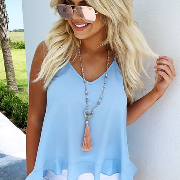 Let's Go Out Tank: Powder Blue