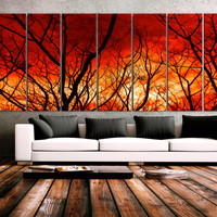 "XXLARGE 30""x 96"" 8 Panels Art Canvas Print beautiful Nature Tree branch Sunset Forest Sun Wall Home Office Decor interior (framed 1.5""depth)"