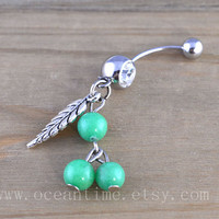 Dream catcher Belly Button Rings,Navel Jewlery, leaf belly button ring,green bead, summer jewelry