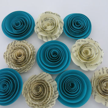 "Teal Blue & Book page paper flowers, 10 piece set, 1.5"" roses, Turquoise wedding theme, baby shower decor, bridal shower decorations"