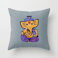 Ganesha Throw Pillow by Vanya