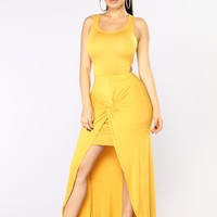 Raina Draped Dress - Mustard