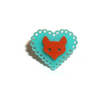 Kawaii Fox Ring, Mint Green Heart, Pastel, Woodland Animal, Cute