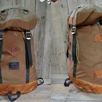 Vintage Bleached Cordura & Leather Bottom Climb High Burlington Vermont Backpack Haversack
