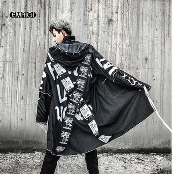 Trendy Cross Ribbon Overcoats Men High Street Fashion Printing Hip Hop Punk Style Long Hooded Trench Jacket Male Loose Coat AT_94_13