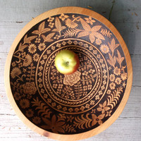 11 1/2 inch beech serving salad bowl, artist decorated wood burned ginkgo blossom ooak design