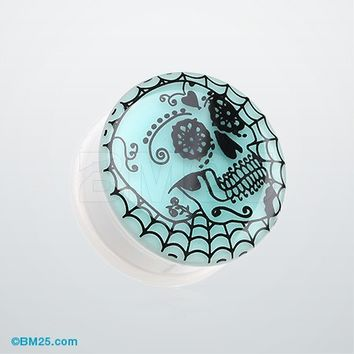 A Pair of Glow in the Dark Day of the Dead Sugar Skull Web Single Flared Plug