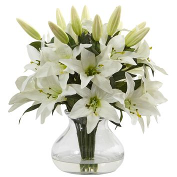 Artificial Flowers -Lily Arrangement With Vase Silk Flowers