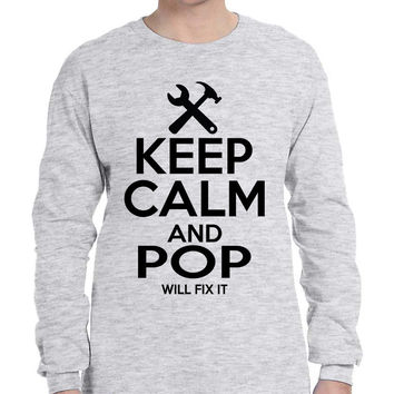 Men's Long Sleeve Keep Calm And Pop Will Fix It Grandpa Holiday Tee