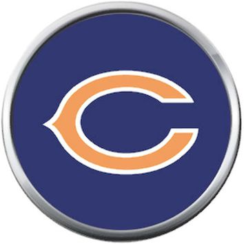 Chicago Bears NFL Logo On Blue Football Lovers Team Spirit 18MM - 20MM Snap Jewelry Charm