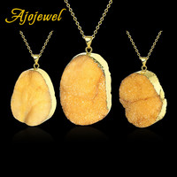 Ajojewel New Office/Career Golden Jewelry High Quality Irregular Yellow Crystal Stone Pendant Necklaces