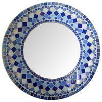 GREAT DEAL Mirror Round  Mosaic  Wall  Choose size Blue Rectangular,Square,Oval custom order