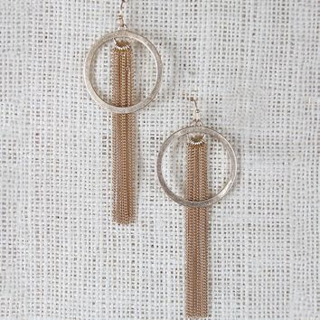 Circle and Chain Dangle Earrings