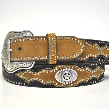 Nocona Men's Western Star Concho Leather Belt-Brown