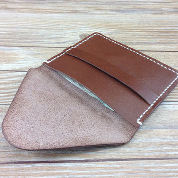 Mens wallet, card holder, custom vegan wallet, minimalist slim small wallet, brown, gifts for him, credit card holder, cool wallets for men