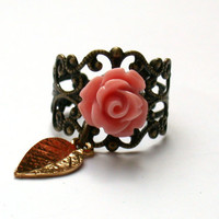 Vintage Ring With A Pink Rose And A Golden Leaf by roomofyourown