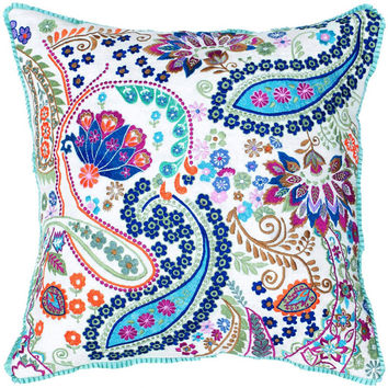 Embroidered Paisley Pillow