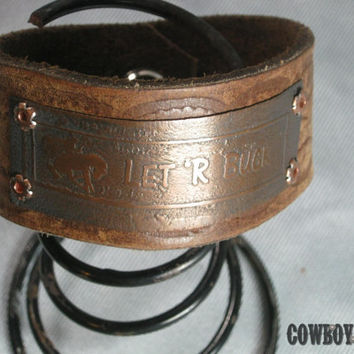 Handmade Copper Etched Rodeo Bronc Bucking Horse Quote Leather Cuff Bracelet
