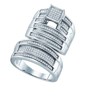 Sterling Silver His & Hers Round Diamond Cluster Matching Bridal Wedding Ring Band Set 1/2 Cttw - FREE Shipping (US/CAN)