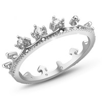 Elegant Queen's Silver Crown Ring For Women Punk New Brand Fashion Crystal Jewellery Lady Rings Femme Bijoux nz290