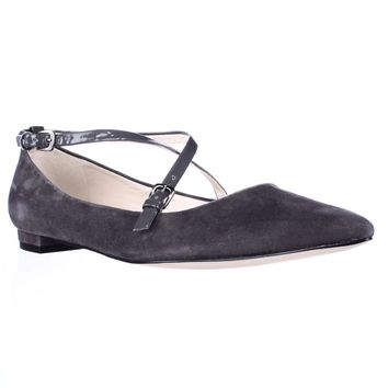 Nine West Anastagia Cross Strap Pointed Toe Flats, Dark Gray, 10 US