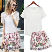 White Floral Lace Sleeve Chiffon Top and Floral Print Mini Skirt