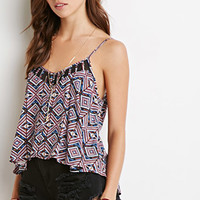 Mesh-Paneled Tribal Print Cami