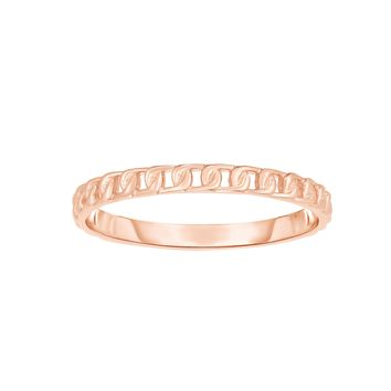 14k Rose Gold Twisted Cable Womens Ring, Size 7
