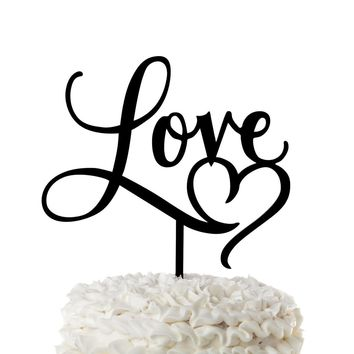 Love with Heart Acrylic Wedding Cake Topper