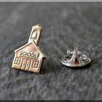 Brass School House Tie Tac, Education Lapel Pin, Teacher Brooch, Gift for Him, Gift Under 10 Dollars, Tie Tack, Favorite Teacher Gift