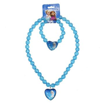 2018 new Baby  Girls jewelry necklace Elsa anna hello kitty Children beads accessories princess new style  Elsa pendant necklace