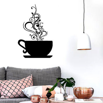 Vinyl Decal Coffee Cup Cafe Tea Kitchen Decor Wall Stickers Mural (ig188)