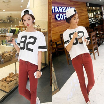New Korean Fashion Women Casual  Short Sleeve Batwing Shirt Blouse Top White = 1945811396