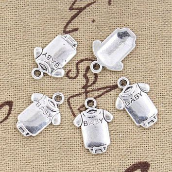 ESBONFI 30pcs Charms baby Onesuit coverall cloth 17*12mm Antique pendant fit,Vintage Tibetan Silver,DIY for bracelet necklace