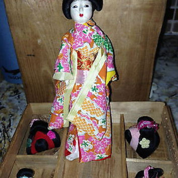 Antique Vintage Japanese Geisha Lady Doll w/ Wigs in Original Box