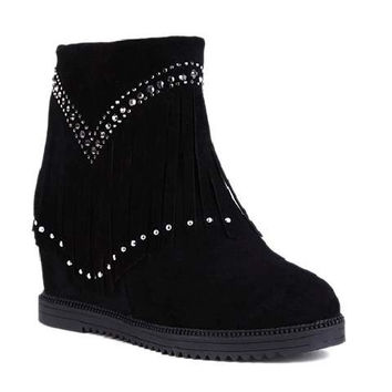 Fashionable Women's Short Boots With Increased Internal and Rhinestones Design