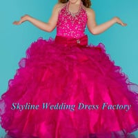 Super hot pink /rose red beads floor length 2016 flower girls dress for wedding Custom sizes